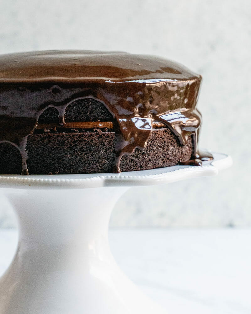 Chocolate ganache topping on chocolate cake