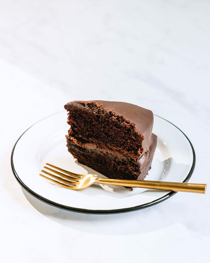 Piece of vegan chocolate cake