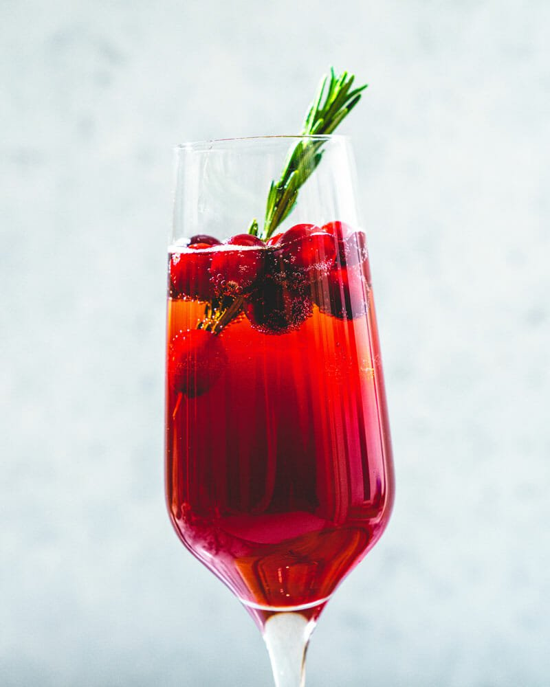 The Poinsettia (Cranberry champagne cocktail)