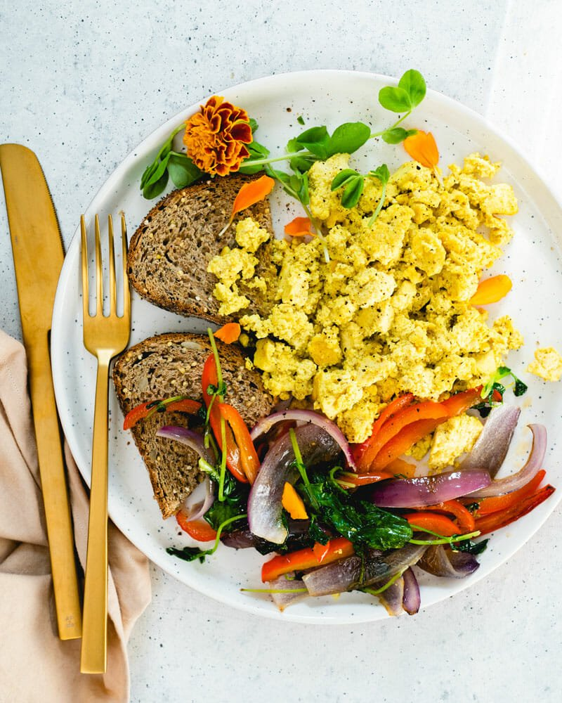 Tofu scramble with breakfast vegetables