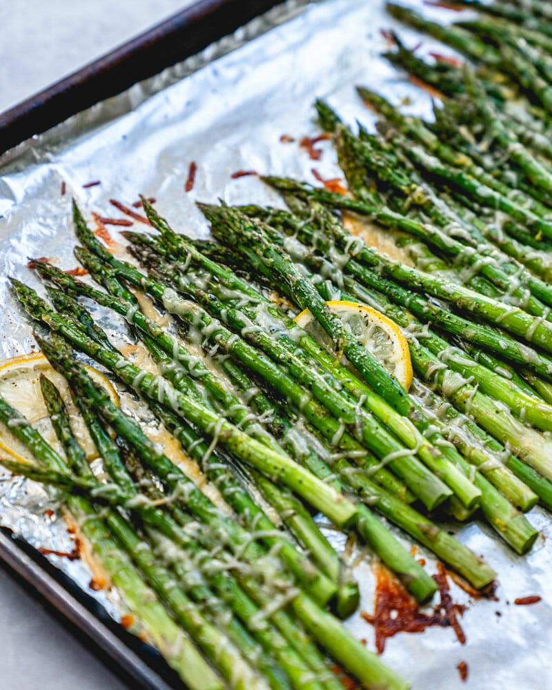 Asparagus on baking sheet