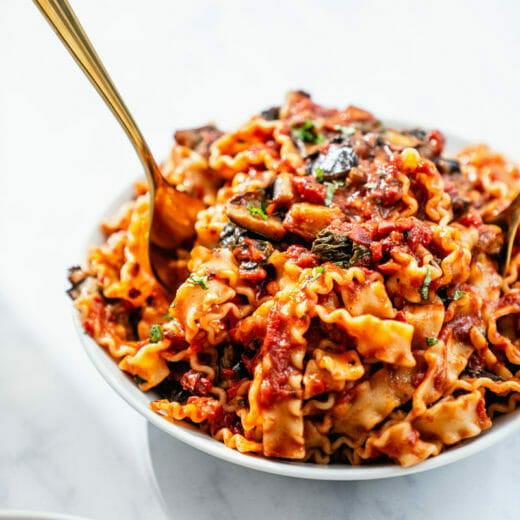 Mafaldine pasta with eggplant
