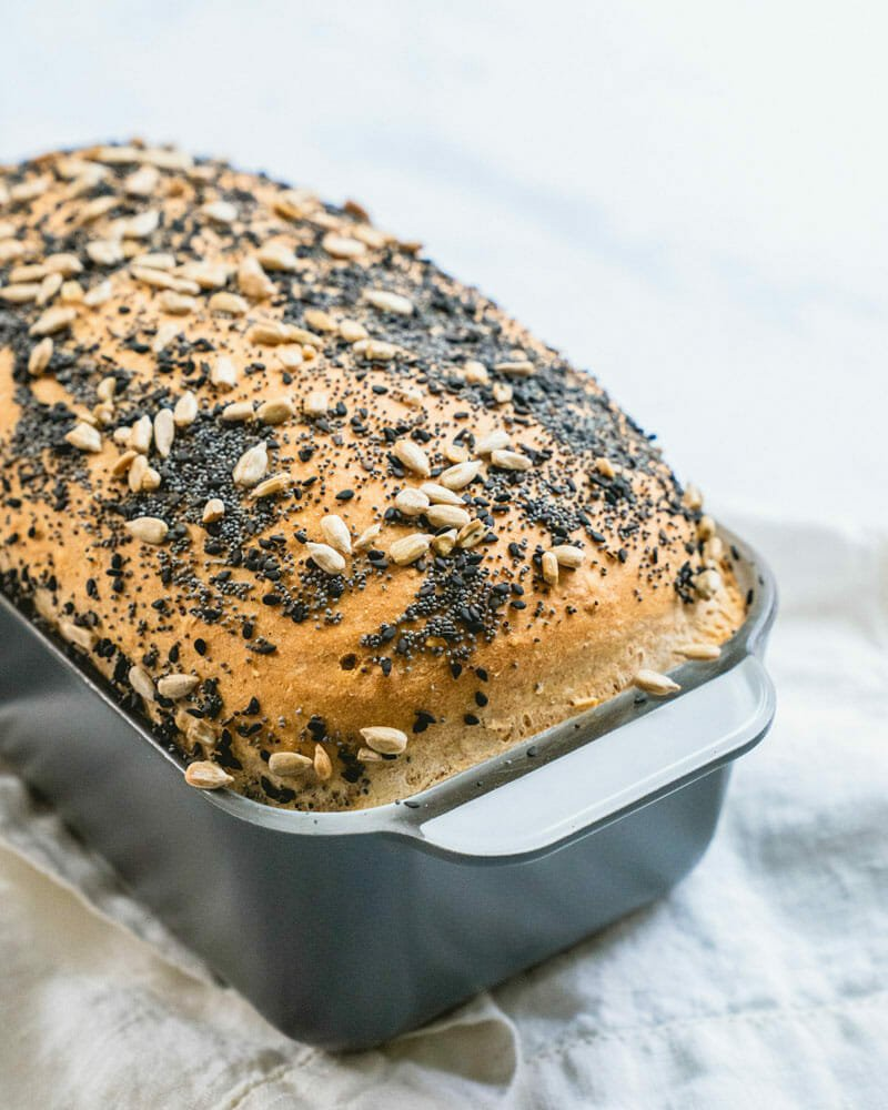Homemade bread in pan