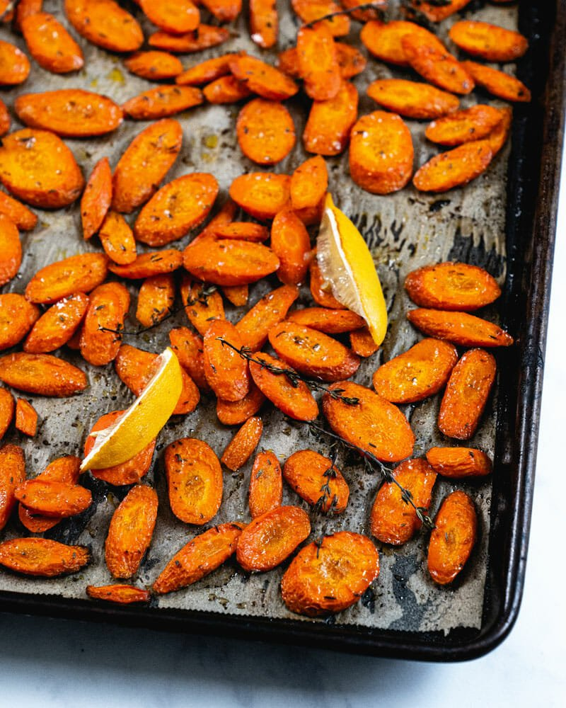 Carrots on baking sheet
