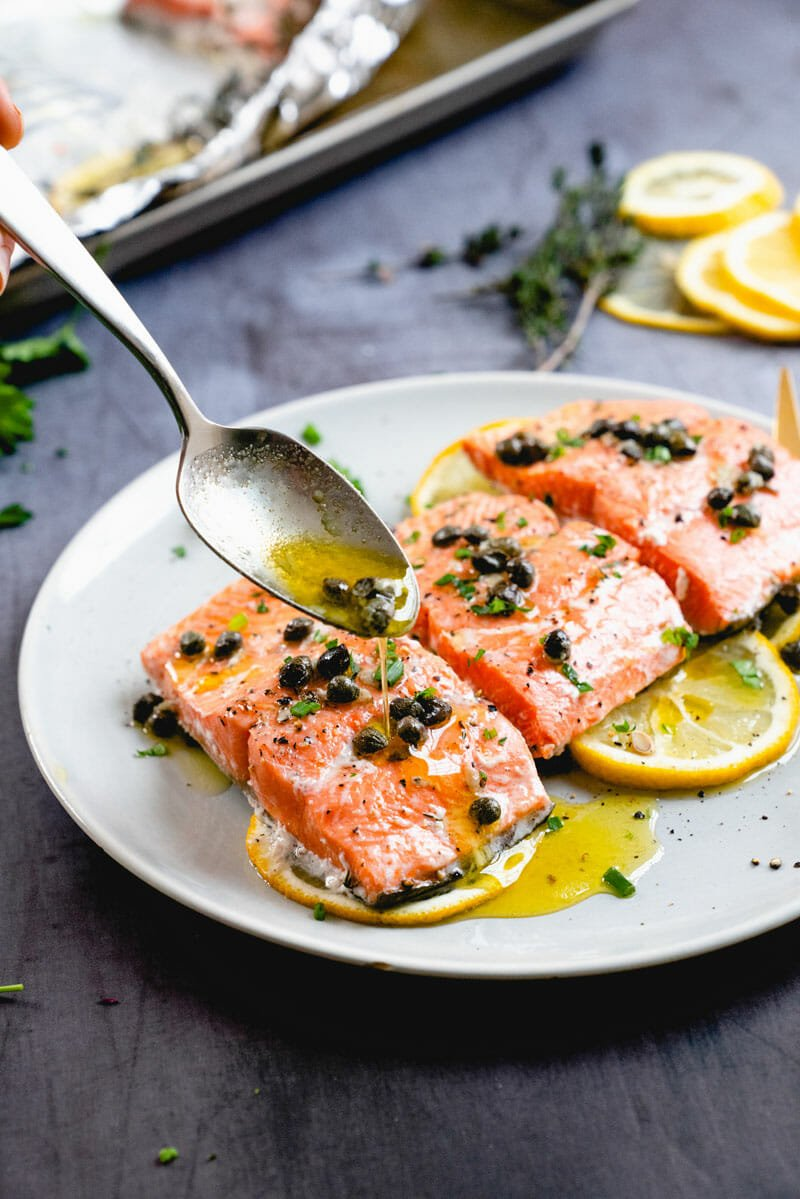 Oven baked salmon with capers