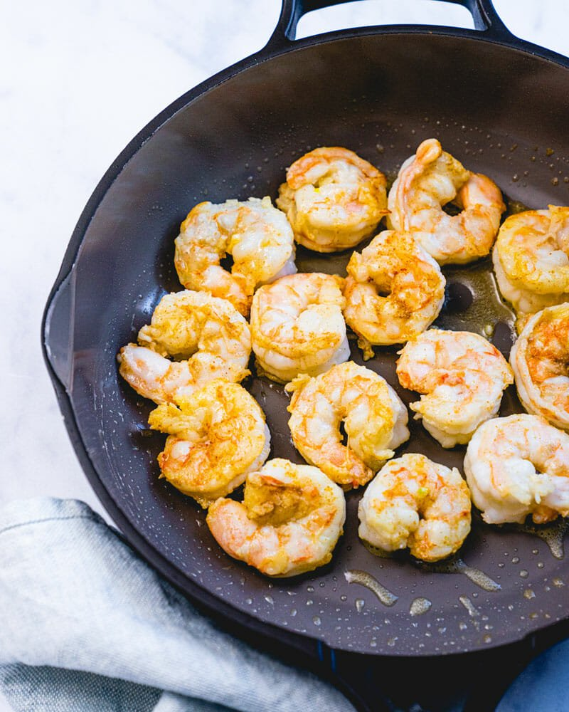 Shrimp in saute pan