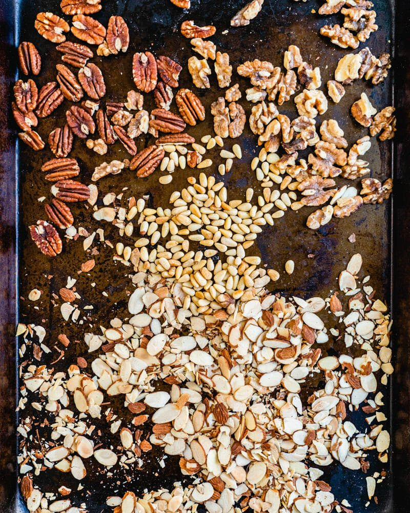 Toasted nuts in the oven