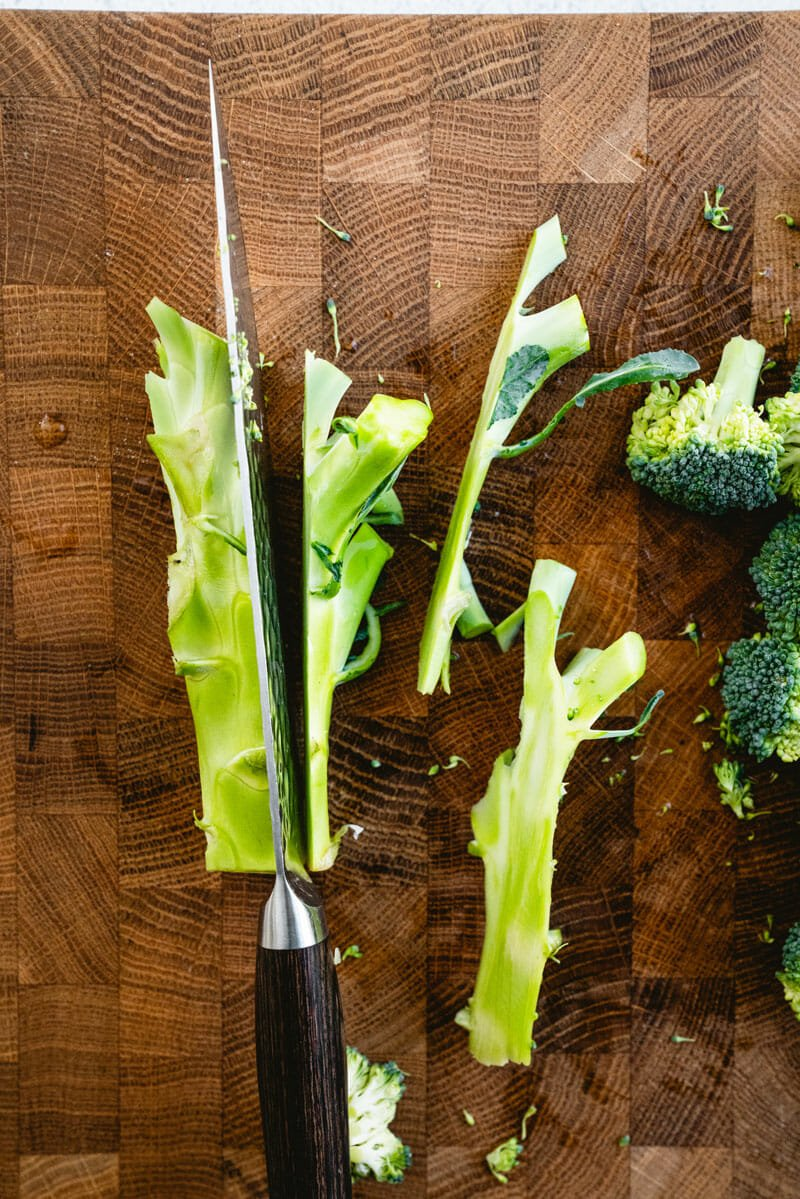 Cut the broccoli stalk