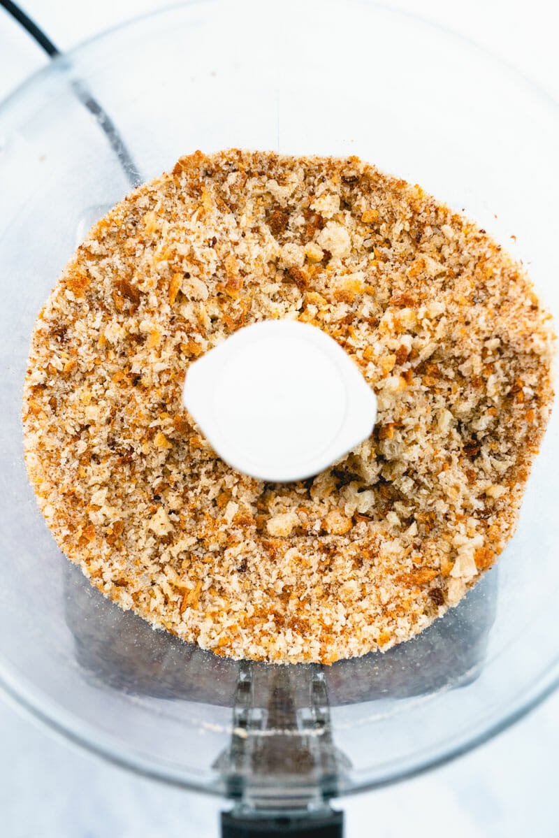 Food processor with bread crumbs