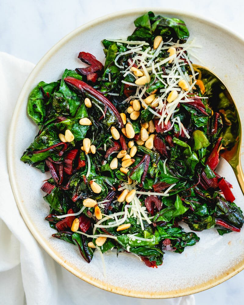 Rainbow chard recipe with pine nuts