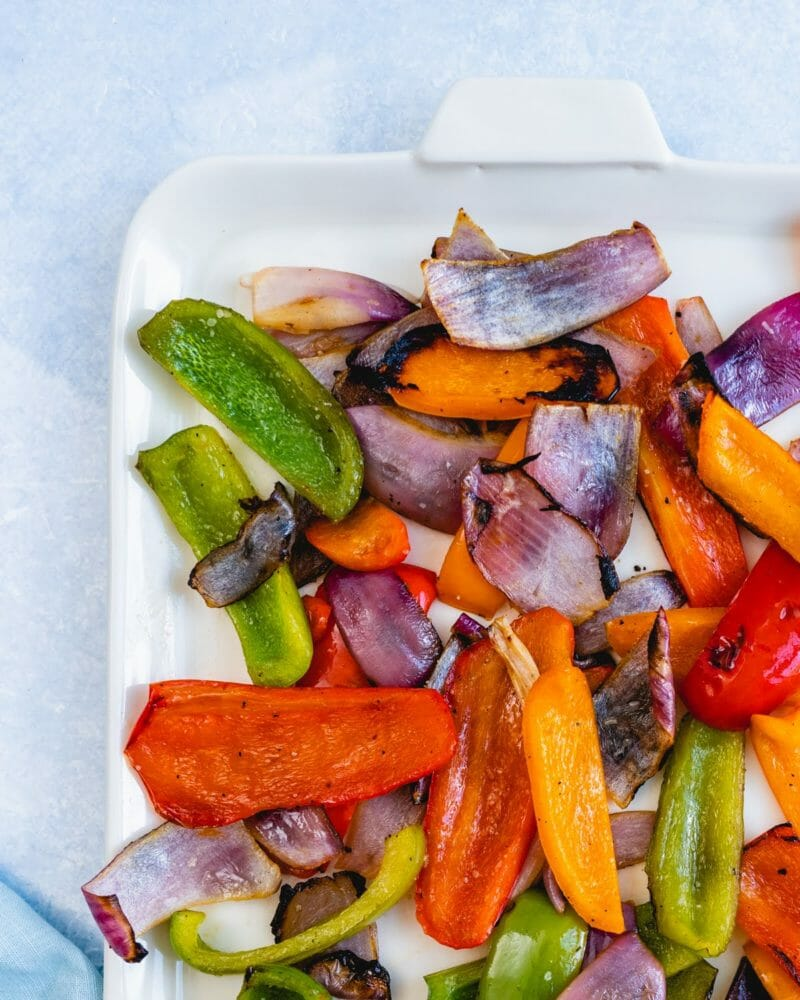 Grilled peppers and onion