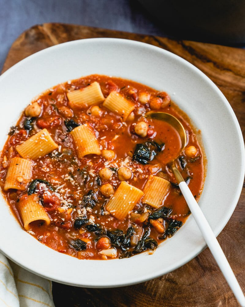 Italian pasta and chickpea stew