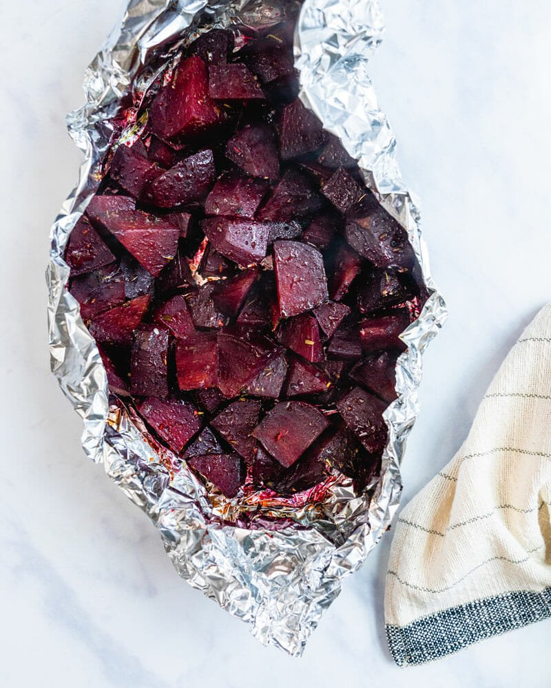 Grilled beets in foil