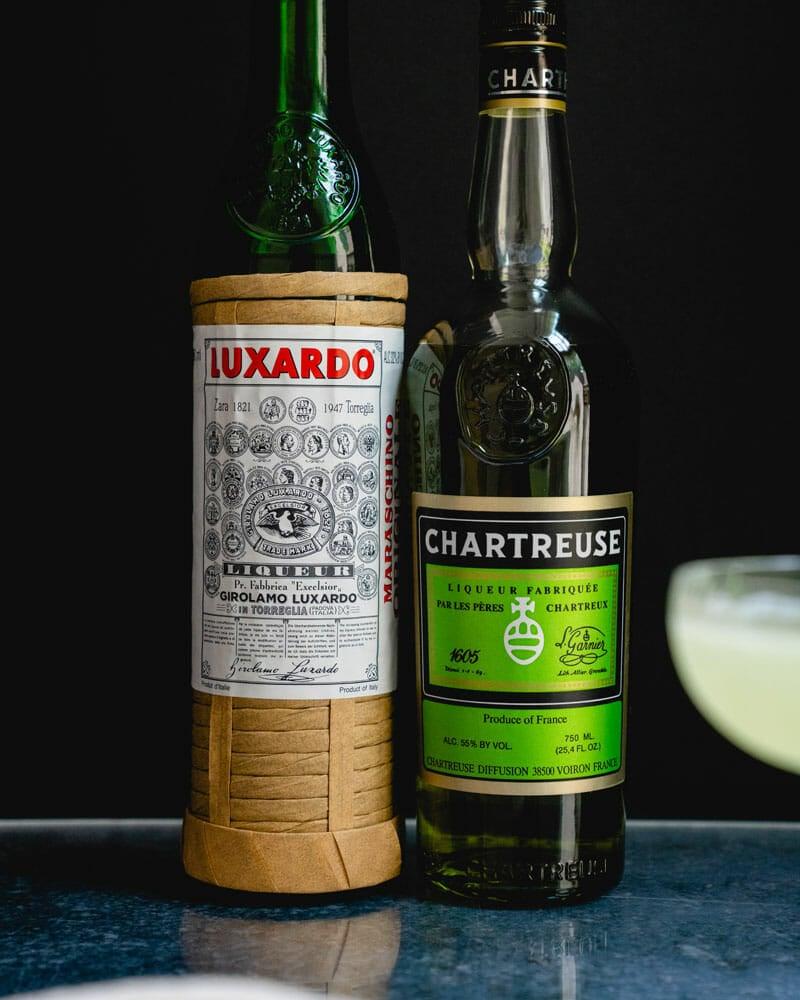 Maraschino and Chartreuse liqueur