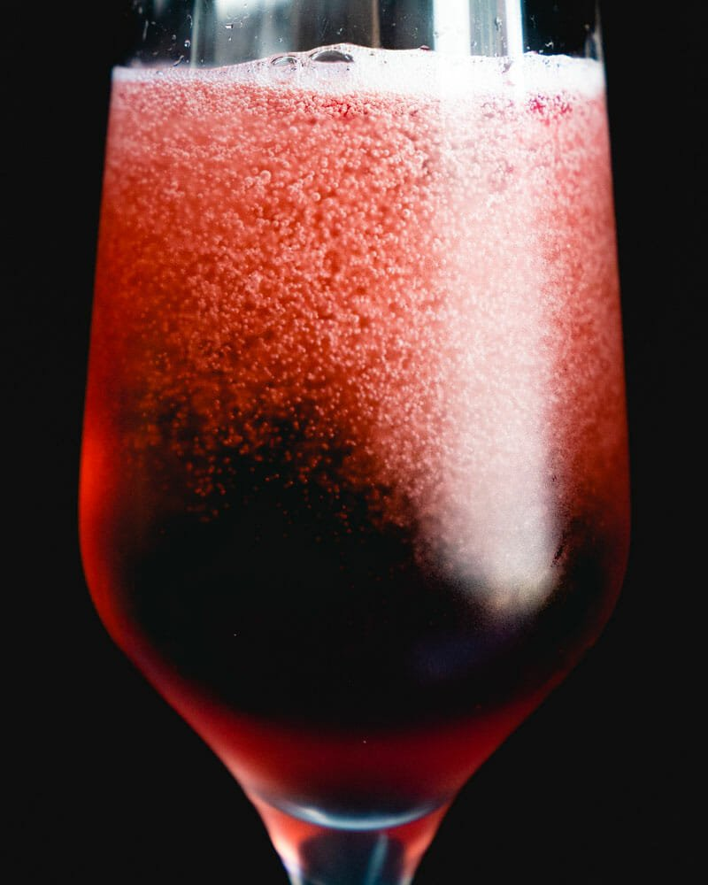 Chambord and champagne cocktail