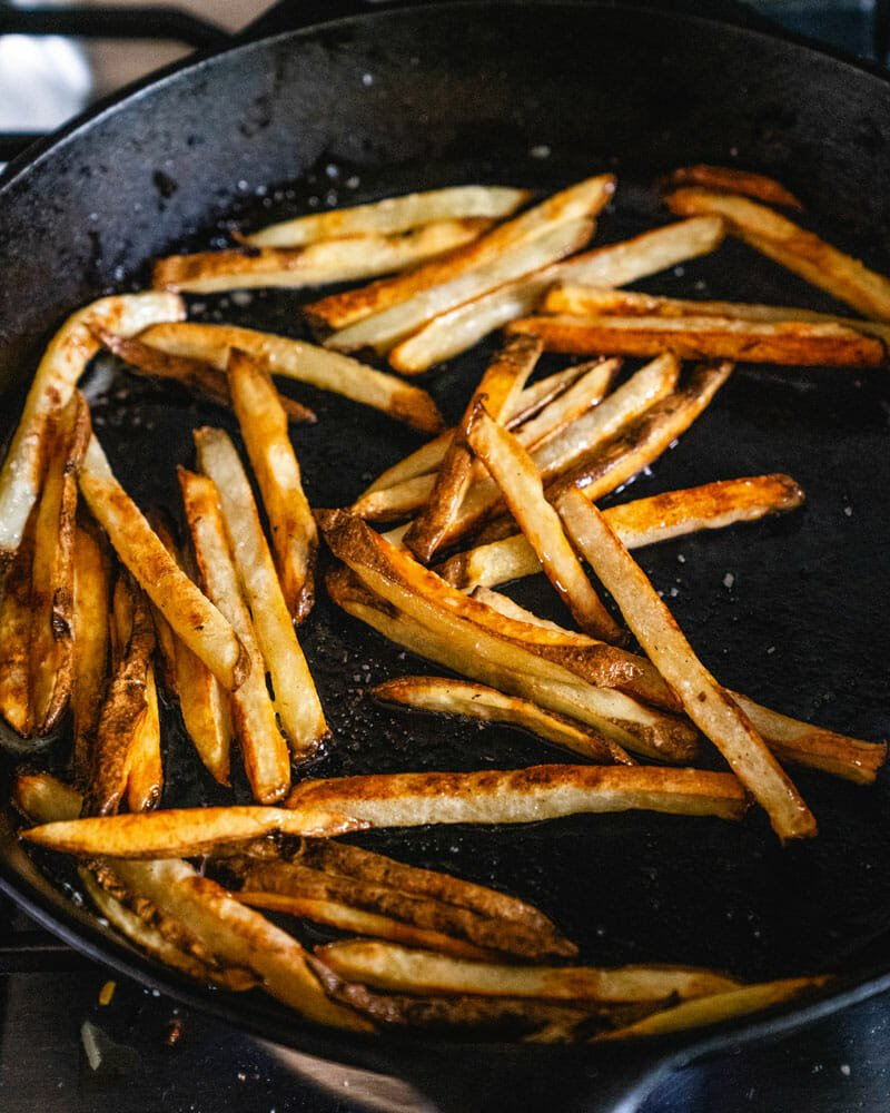 Pan frying fries