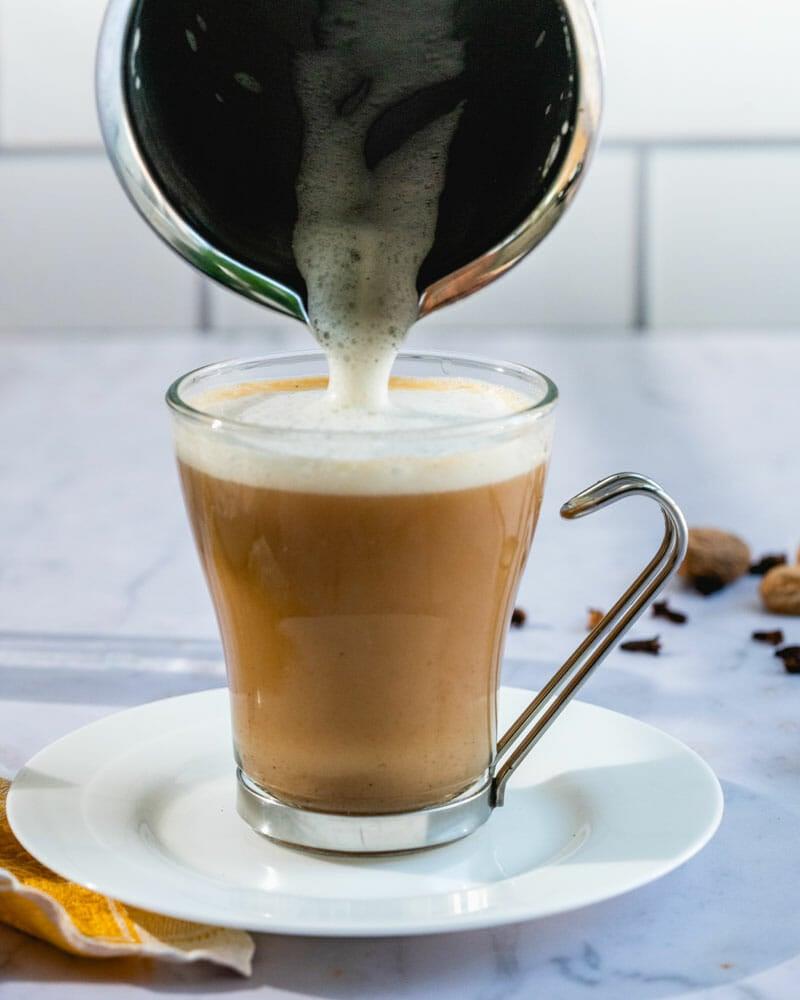 Foam on vegan chai latte