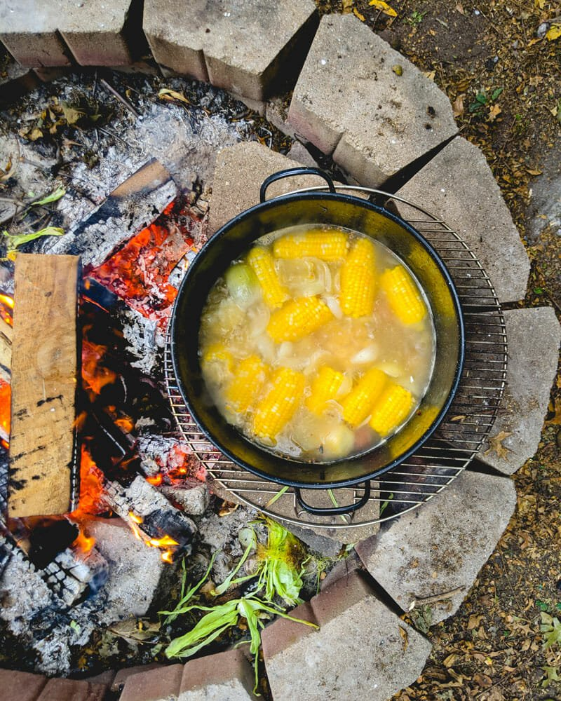 Shrimp boil on an open fire