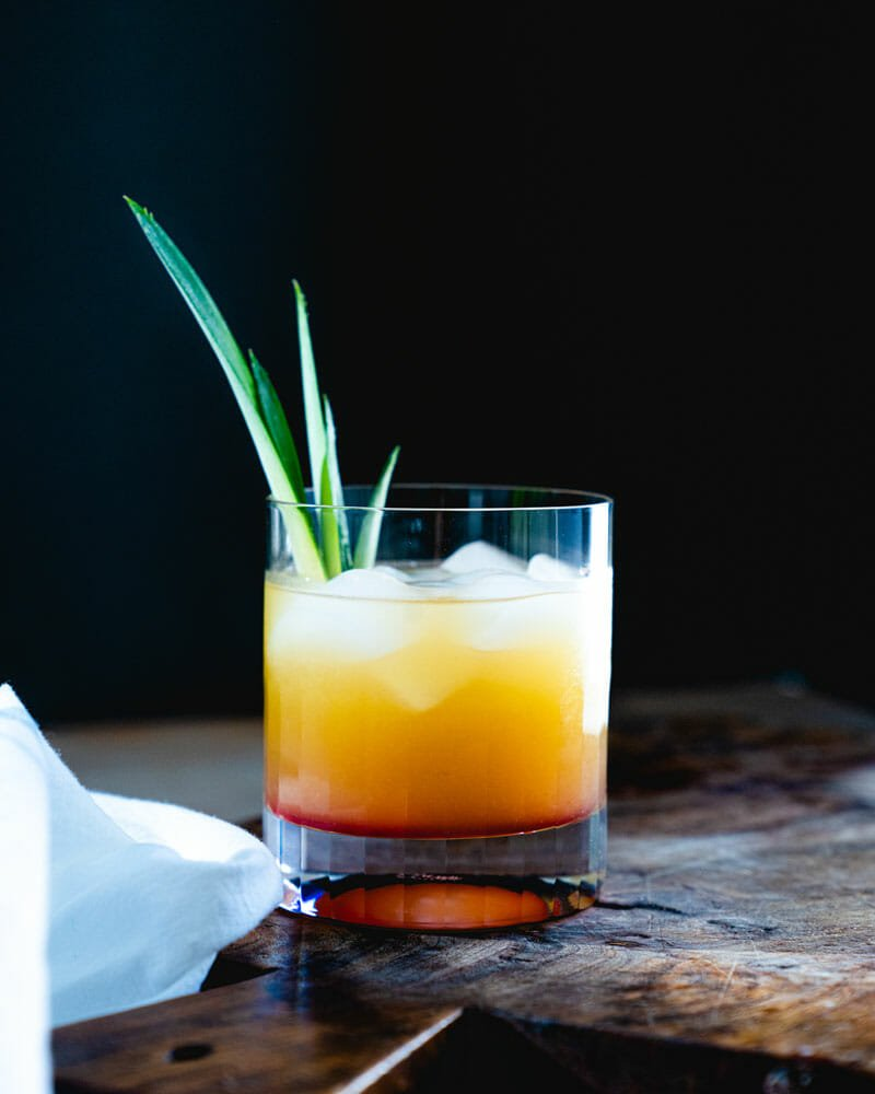 Vodka and pineapple juice cocktail