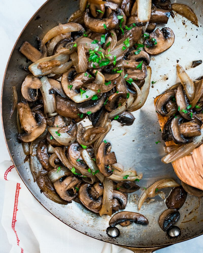 How to saute mushrooms and onions