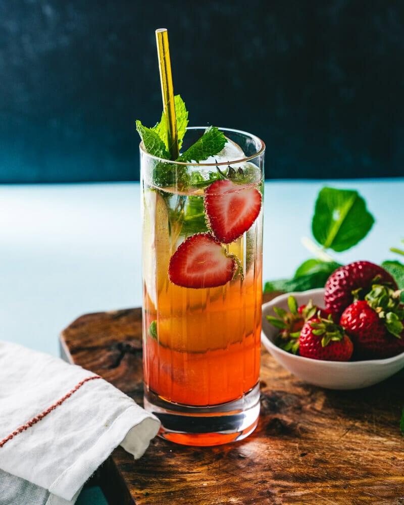 Strawberry vodka cocktail