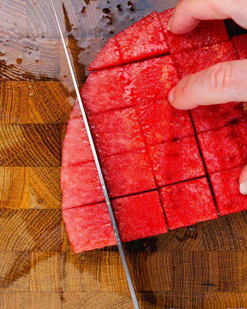 How to Cut a Watermelon: Make a grid pattern