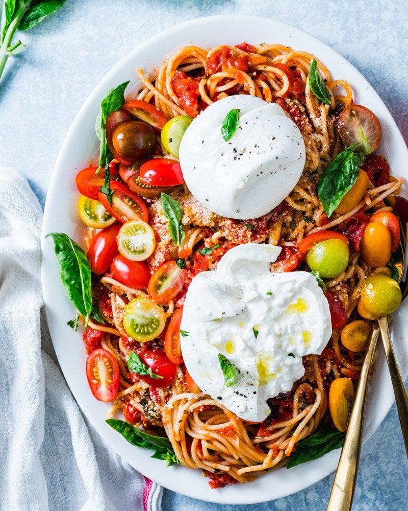 Burrata Pasta with Tomato Basil Sauce